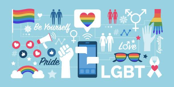 bildbanksillustrationer, clip art samt tecknat material och ikoner med hbt-rättigheter och sociala medier gemenskap - stolthet