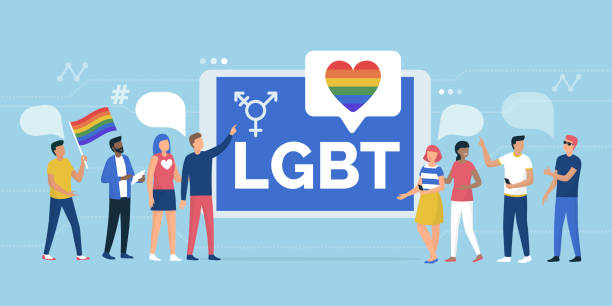 LGBT rights parade and online community Multiethnic group of people supporting a LGBT rights parade and online community social media app, gender and equality concept gay person stock illustrations