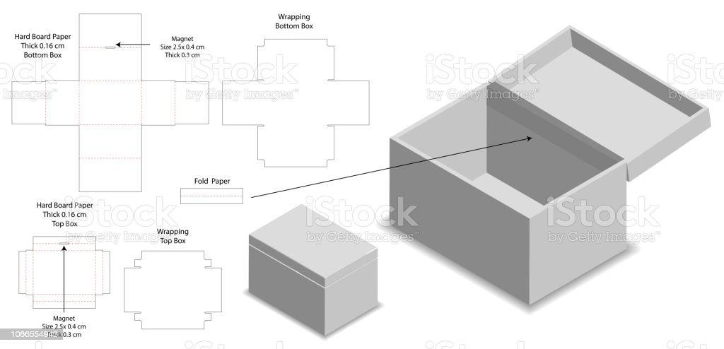 Rigid Box Packaging Die Cut Template 3d Mockup Stock Illustration