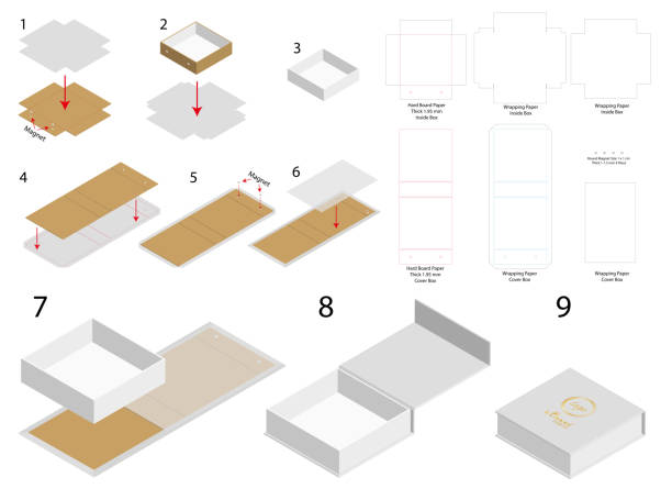 rigid magnet box template 3d mockup with dieline vector art illustration