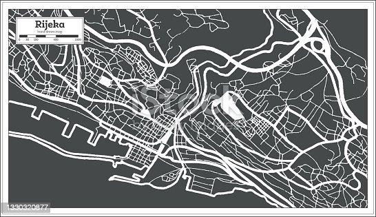 istock Rijeka Croatia City Map in Black and White Color in Retro Style. Outline Map. 1330320877