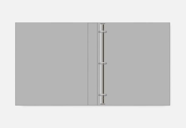 3 ring binder, realistic mockup. open folder, vector template - ring binder stock illustrations