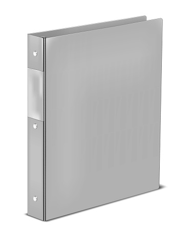 Ring binder with label holding pocket on spine, vector mockup. Closed gray folder isolated on white background, mock-up