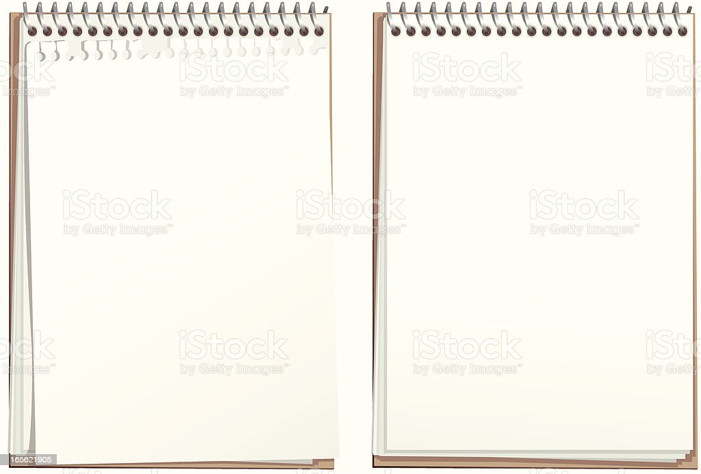 Ring bound white paper note pad vector art illustration