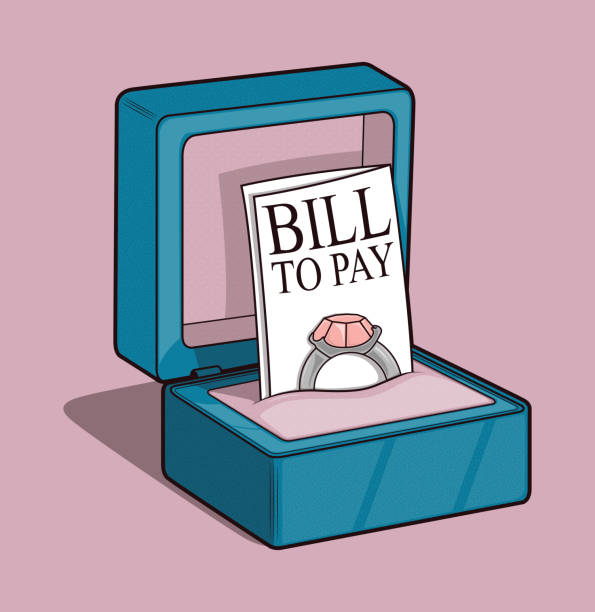 ilustrações de stock, clip art, desenhos animados e ícones de ring box with bill vector illustration. - bills couple