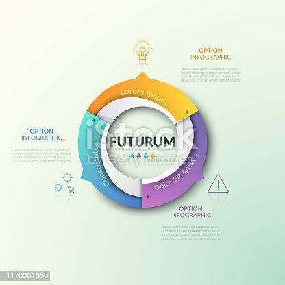 Ring chart divided into 3 sectors with arrows pointing at thin line icons and text boxes. Futuristic infographic design template. Three features of cyclical process concept. Vector illustration.