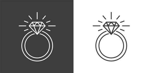 ring diamant-verlobungsring - trauring stock-grafiken, -clipart, -cartoons und -symbole