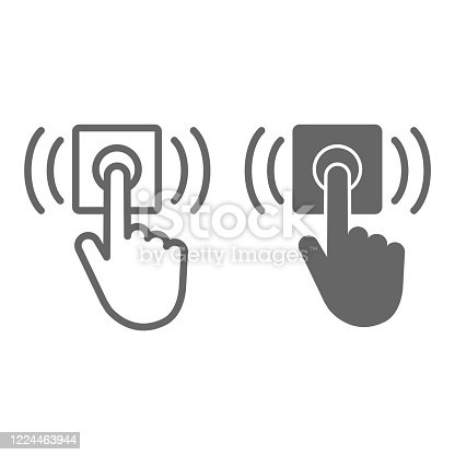 istock Ring door bell line and solid icon, delivery symbol, Hand push bell button vector sign on white background, finger pressing doorbell icon in outline style for mobile and web design. Vector graphics. 1224463944