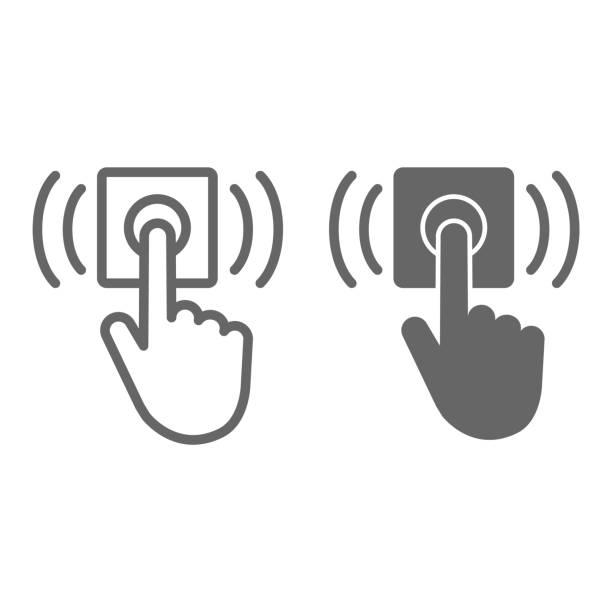 ring tür glocke linie und solide symbol, lieferung symbol, hand-push-glocke-taste vektor-zeichen auf weißem hintergrund, finger drücken türklingel-symbol im umriss-stil für mobile und web-design. vektorgrafiken. - menschliches körperteil stock-grafiken, -clipart, -cartoons und -symbole