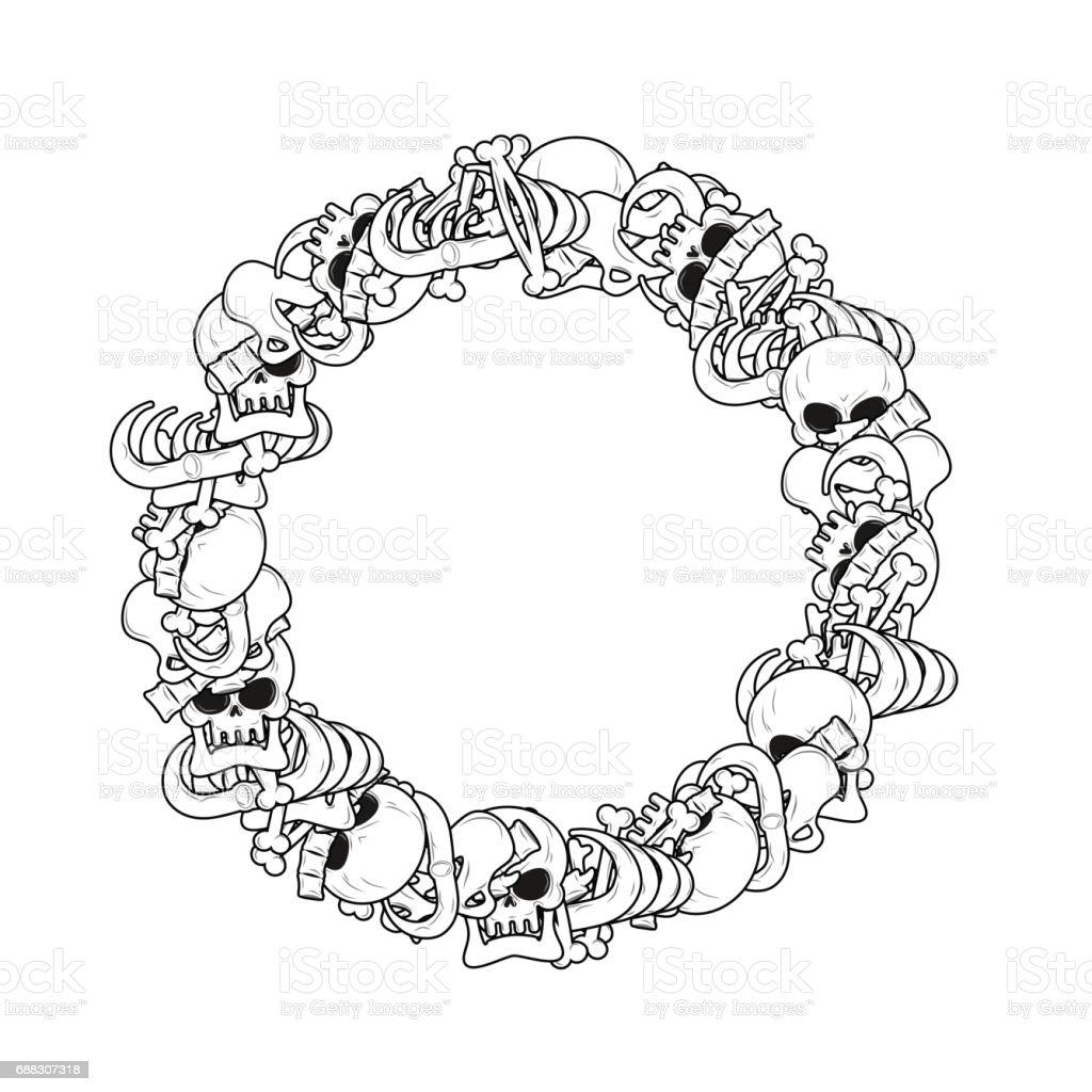 Ringframe Von Knochen Anatomiehintergrund Skelettvorlage Schädel Und ...