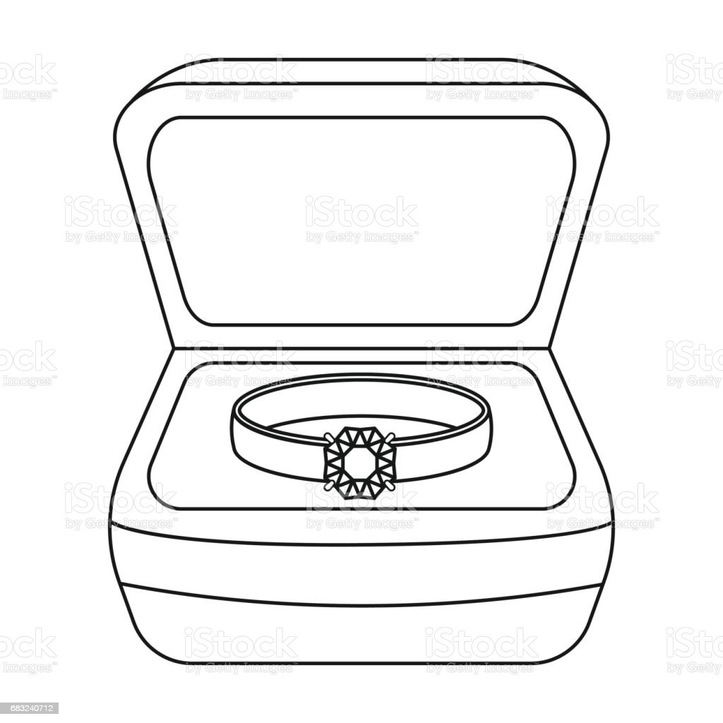 Ring in box icon in outline style isolated on white background. Jewelry and accessories symbol stock vector illustration. royalty-free ring in box icon in outline style isolated on white background jewelry and accessories symbol stock vector illustration stock vector art & more images of art