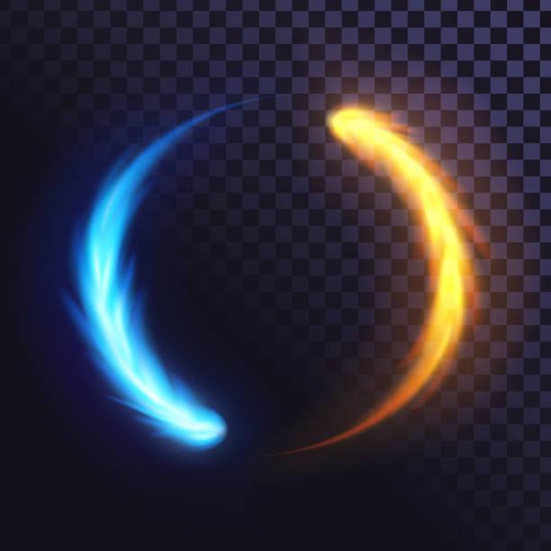 illustrazioni stock, clip art, cartoni animati e icone di tendenza di anello di fiamma blu e gialla - ice on fire