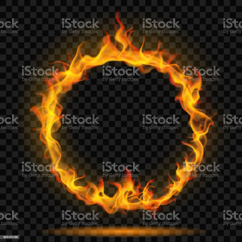 Ring of fire flame vector art illustration