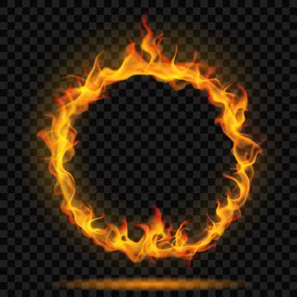 illustrations, cliparts, dessins animés et icônes de cercle de feu flamme - bague