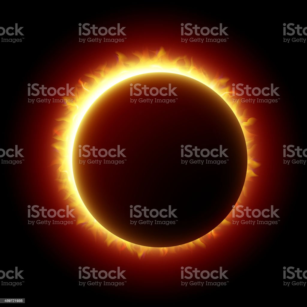 A ring of light in a solar eclipse vector art illustration