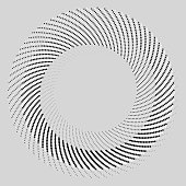 Dots in spiral pattern on white. 3D-effect shows best if watched from distance.