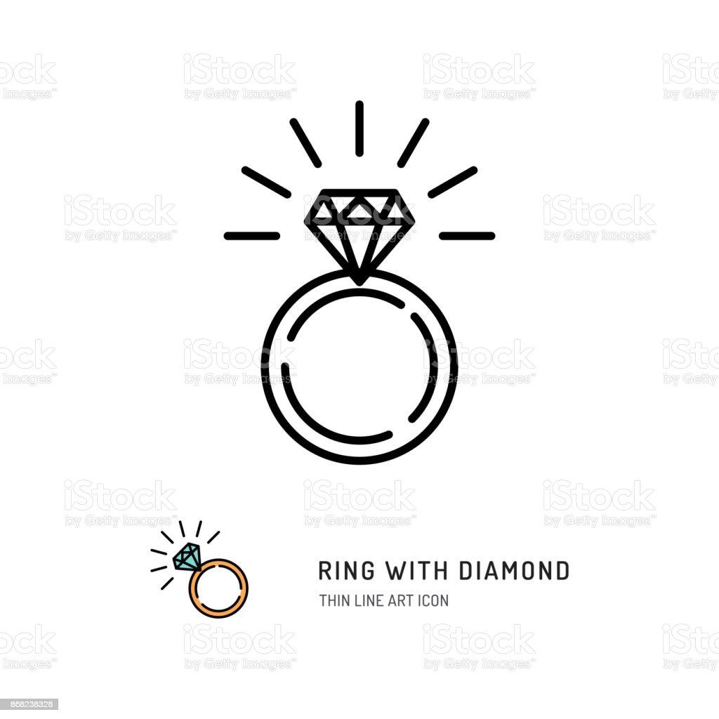 リングとダイヤモンド アイコン婚約結婚指輪ラインのアート デザイン