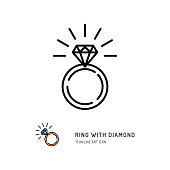 Ring With Diamond Icon, engagement and wedding ring. Line art design, Vector flat illustration