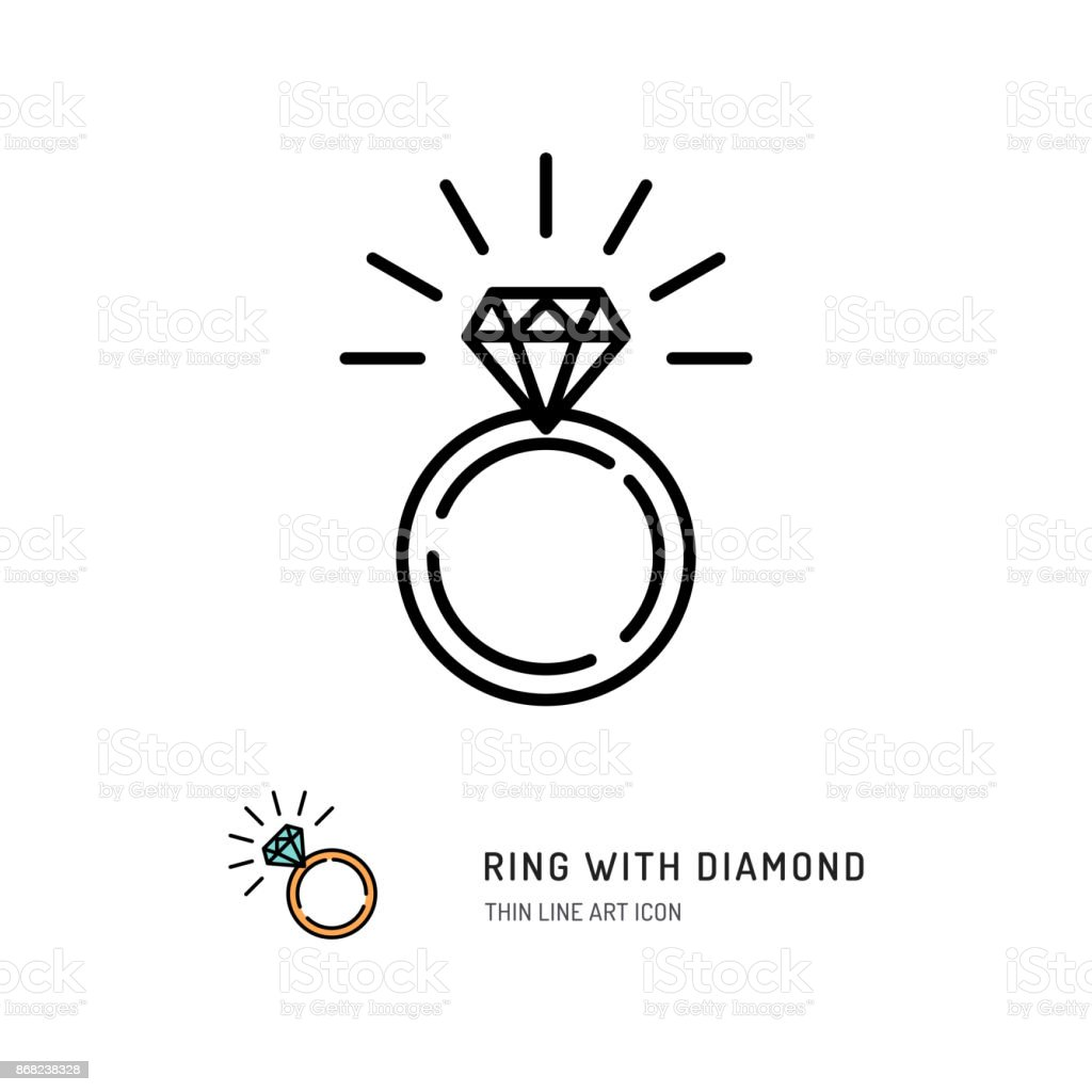 Ring With Diamond Icon, engagement and wedding ring. Line art design, Vector flat illustration vector art illustration