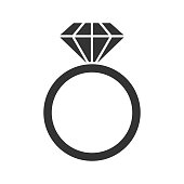 Ring with diamond icon