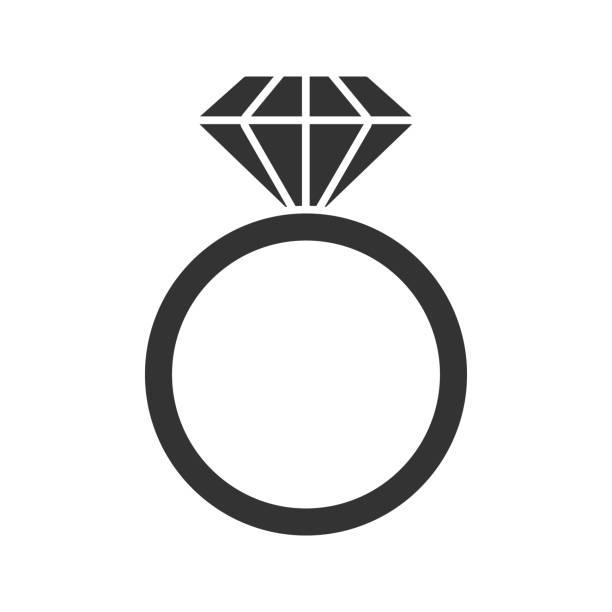 ring mit diamanten-symbol - trauring stock-grafiken, -clipart, -cartoons und -symbole