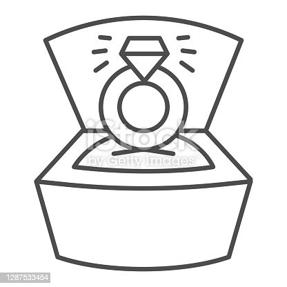 istock Ring with diamond in open box thin line icon, valentine day concept, wedding ring with brilliant sign on white background, proposal ring icon in outline style for mobile concept. Vector graphics. 1287533454