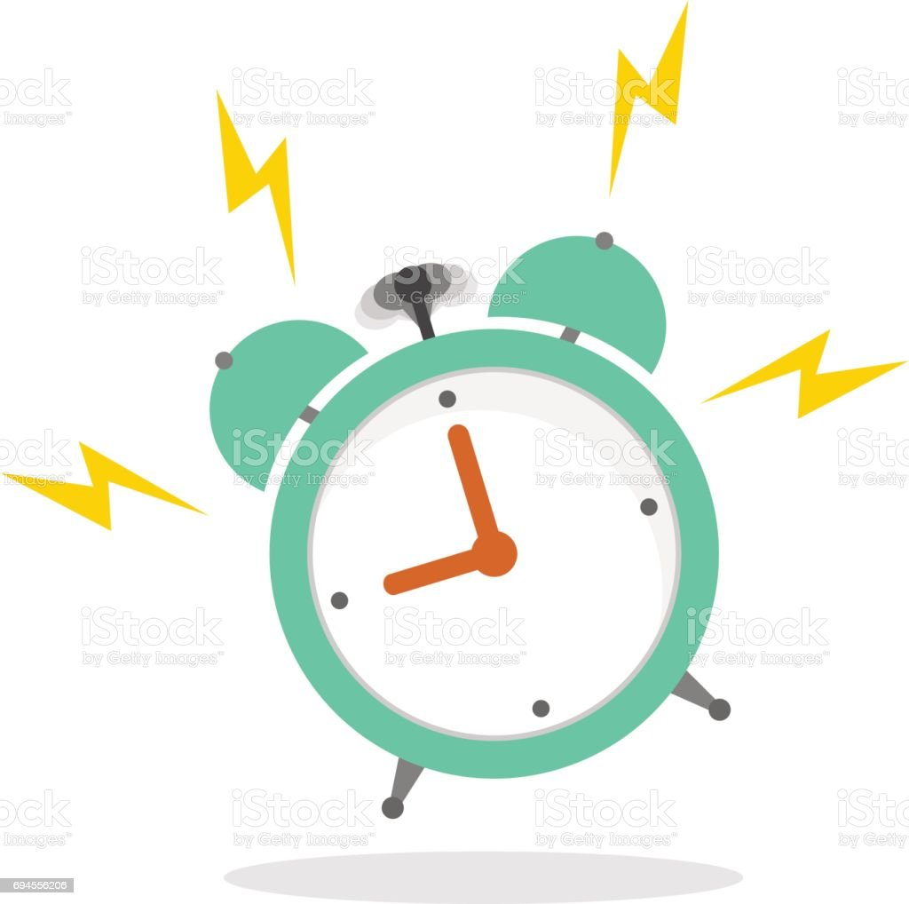 Ringing alarm clock in a flat style with a shadow on a white background vector art illustration