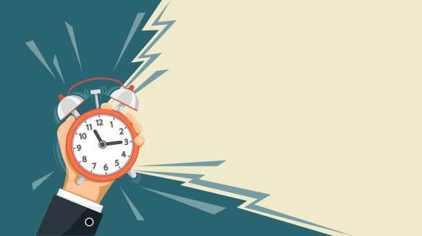 ilustrações de stock, clip art, desenhos animados e ícones de ringing alarm clock is in the hand of a man - important