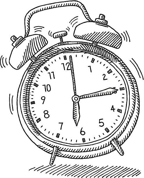 Ringing Alarm Clock Morning Wake Up Drawing vector art illustration