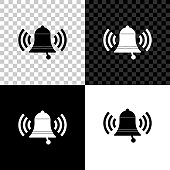 Ringing bell icon isolated on black, white and transparent background. Alarm symbol, service bell, handbell sign, notification symbol. Vector Illustration