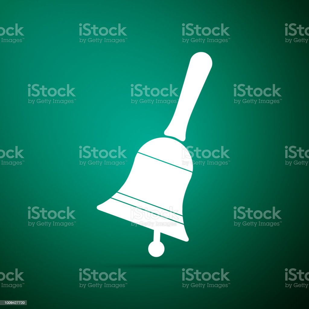 Ringing Bell Icon Isolated On Green Background Alarm Symbol