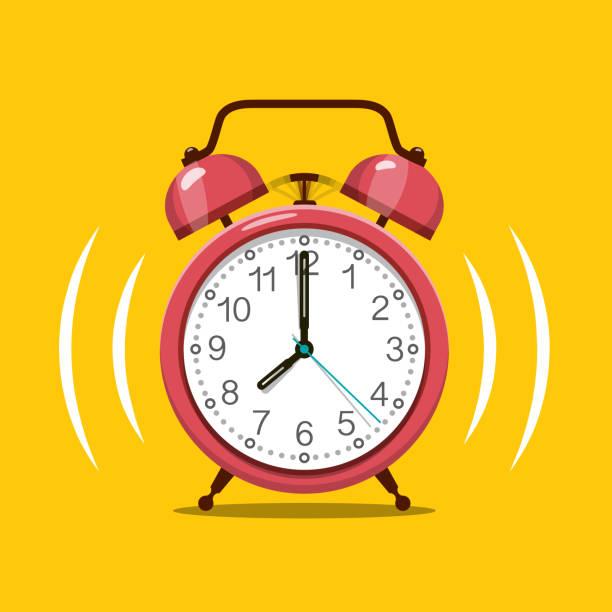 bildbanksillustrationer, clip art samt tecknat material och ikoner med ring signal röd väckar klocka vektor symbol på gul bakgrund. - alarm clock