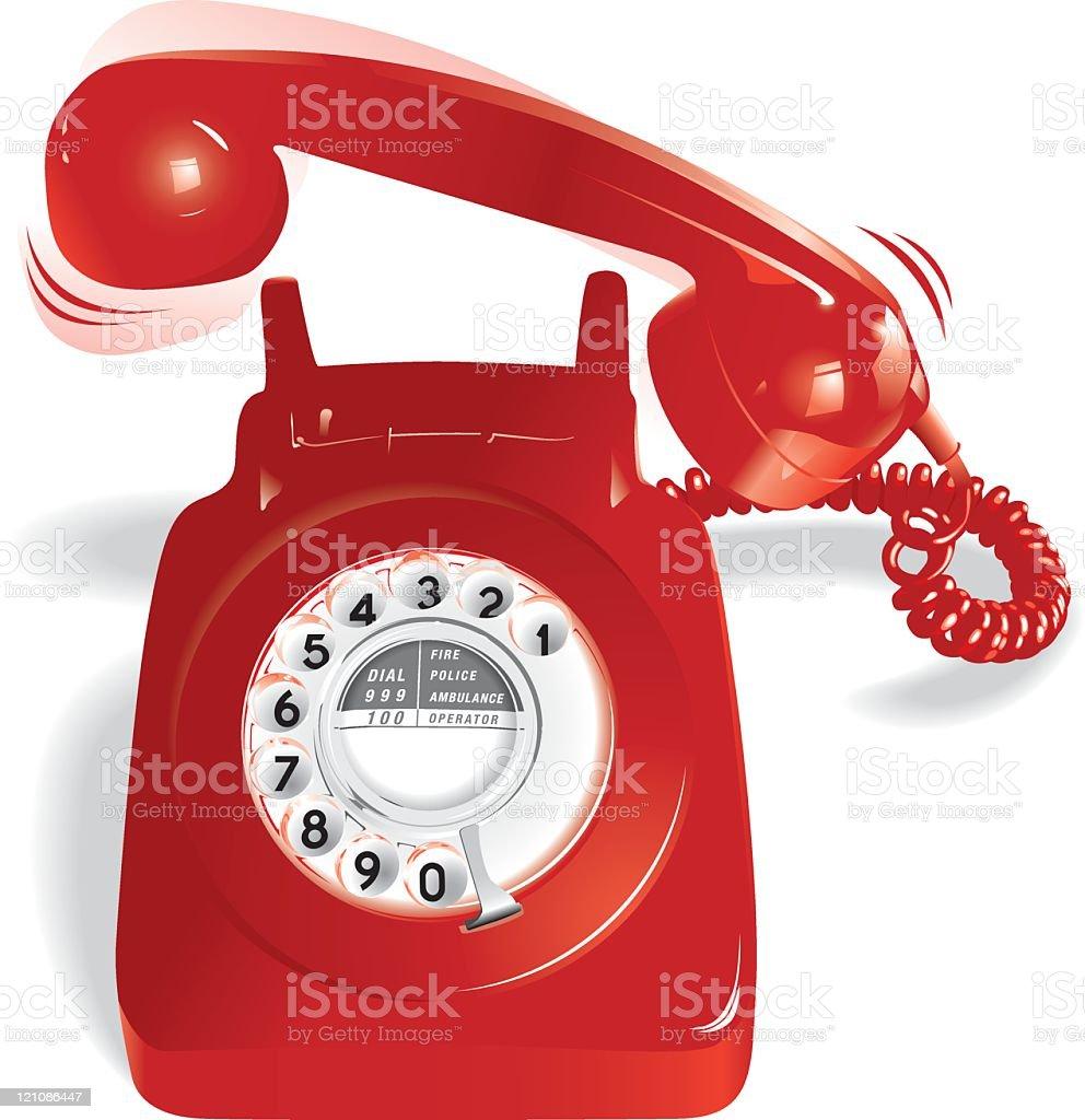 Ringing Red Telephone vector art illustration