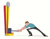 """Vector illustration of a man """"ringing the bell"""" at a carnival. This illustration uses blur, transparency and clipping masks. When these effects are used they are on separate layers and are clearly labeled."""