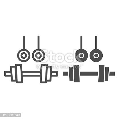 istock Rings and dumbbells line and solid icon. Sport and gym theme sports equipment symbol illustration isolated on white. Sports rings and dumbbells outline style design, designed for web and app. Eps 10. 1219351845