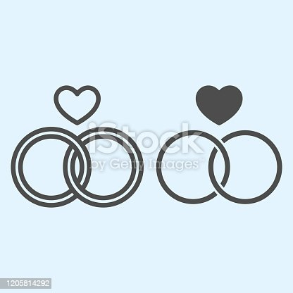 istock Rings line and solid icon. Two crossing circles with heart shape. Wedding asset vector design concept, outline style pictogram on white background, use for web and app. Eps 10. 1205814292