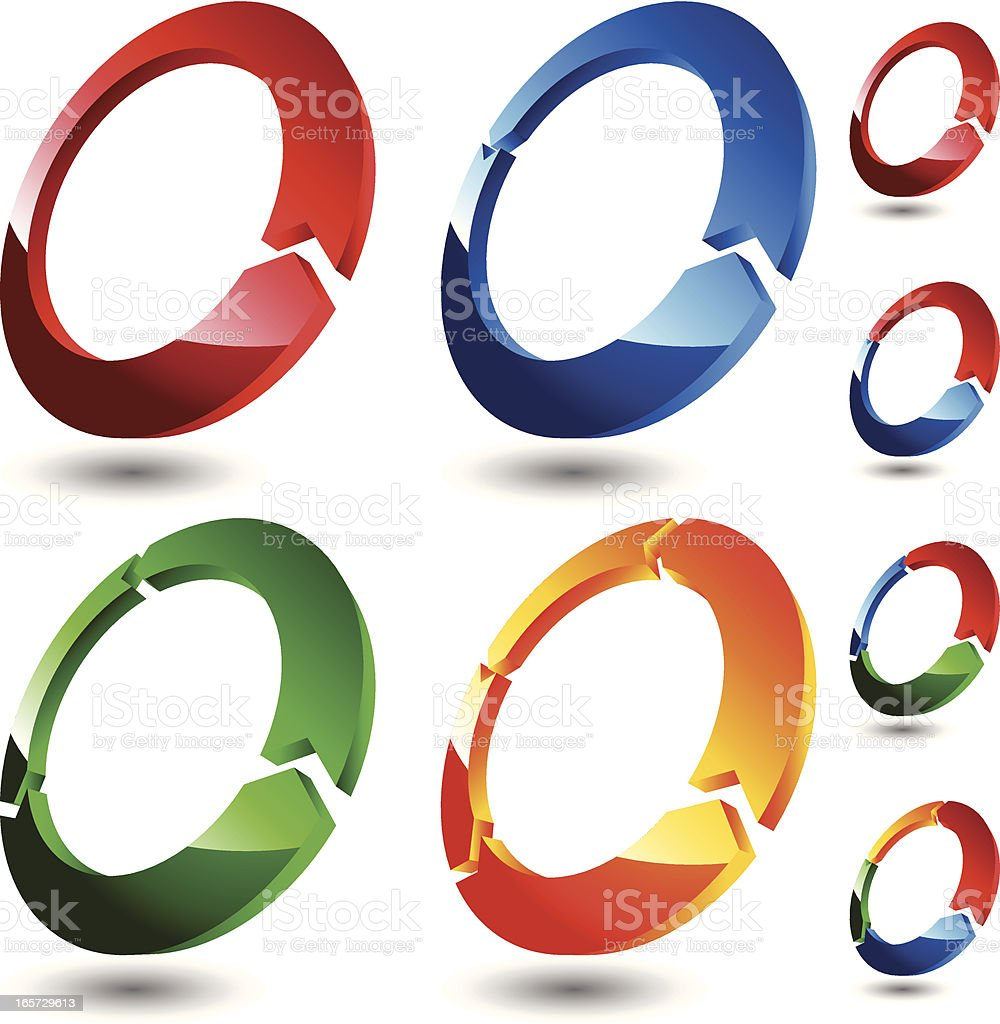 3D Rings (Colored) royalty-free stock vector art