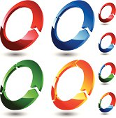 Set of four colored 3D rings . Global color for easy recolor and smartly grouped for simpleness use.