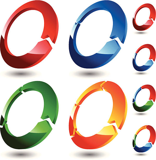3D Rings (Colored) vector art illustration