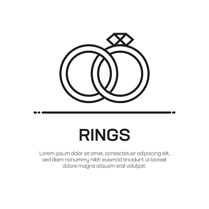 Rings Vector Line Icon - Simple Thin Line Icon, Premium Quality Design Element