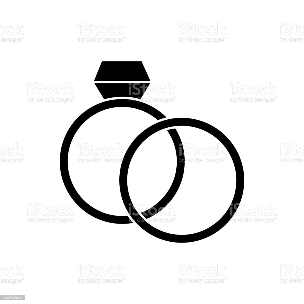 Ringe Hochzeit Diamantensymbol Vector Illustration Schwarze Zeichen