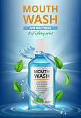 Rinse water ads. Dental medical poster mouthwash fresh cleaning water splashes vector realistic placard. Product clean hygiene oral, dental poster and care illustration