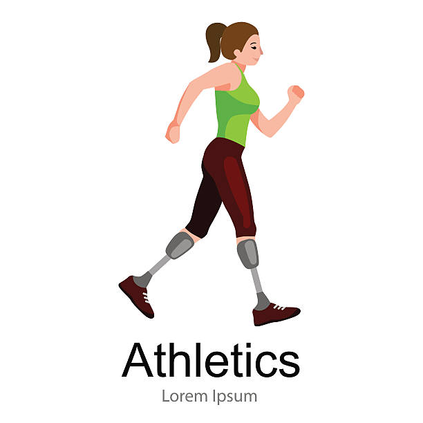rio 2016, brazilian game for handicapped, disability sport, athlete with vector art illustration