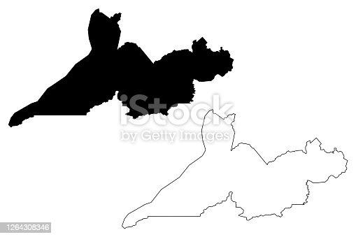 istock Rio Branco City and Municipality (Federative Republic of Brazil, Acre State) map vector illustration, scribble sketch City of Rio Branco map 1264308346