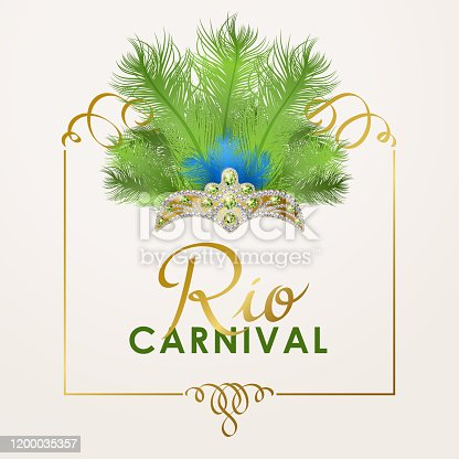 Join the Brazilian samba parade in Rio De Janeiro with colorful feather headdress and performance for the carnival