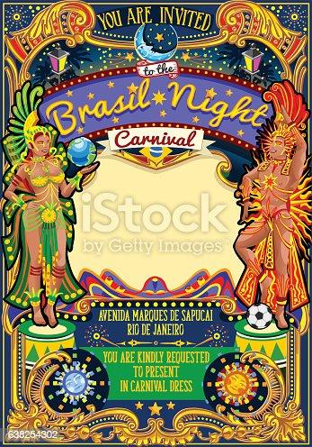 Rio Carnival Poster Template Brazil Carnaval Mask Show Parade Stock Vektor Art Und Mehr Bilder Von Auffuhrung 638254302