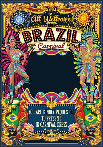 Rio Carnival Poster Theme Brazil Carnaval Mask Show Parade