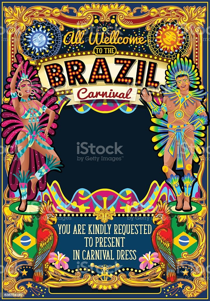 Rio Carnival Poster Theme Brazil Carnaval Mask Show Parade vector art illustration