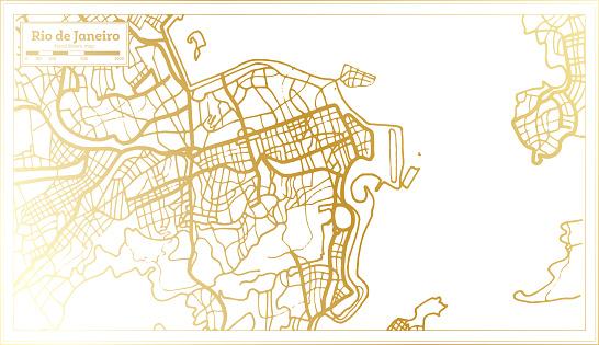 Rio De Janeiro Brazil City Map in Retro Style in Golden Color. Outline Map.