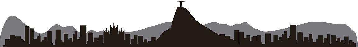 Rio de Janeiro Brazil skyline silhouette, vector illustration